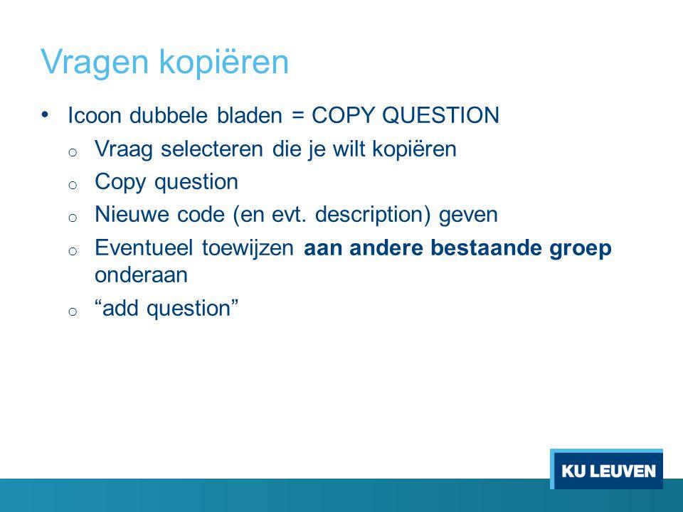 Vragen kopiëren Icoon dubbele bladen = COPY QUESTION