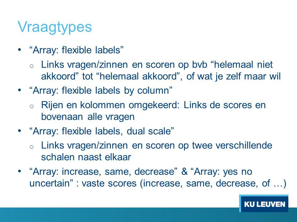 Vraagtypes Array: flexible labels