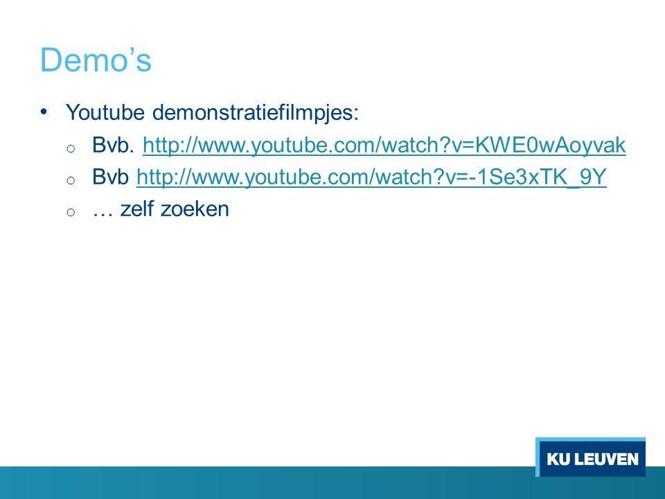 Demo's Youtube demonstratiefilmpjes: