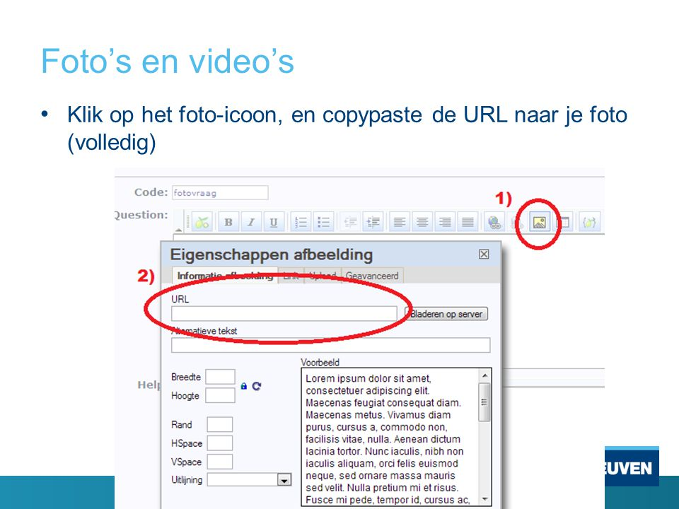Foto's en video's Klik op het foto-icoon, en copypaste de URL naar je foto (volledig)
