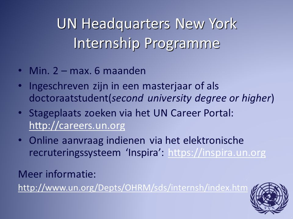 UN Headquarters New York Internship Programme