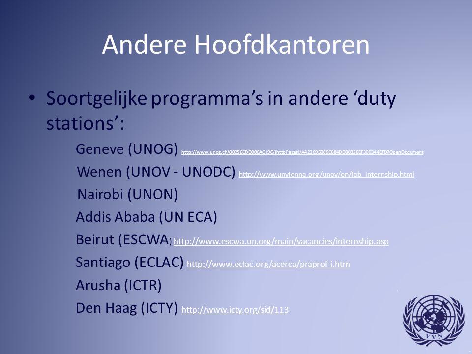 Andere Hoofdkantoren Soortgelijke programma's in andere 'duty stations':