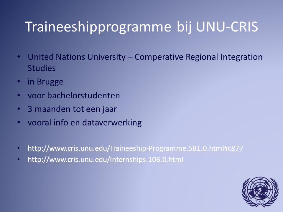 Traineeshipprogramme bij UNU-CRIS