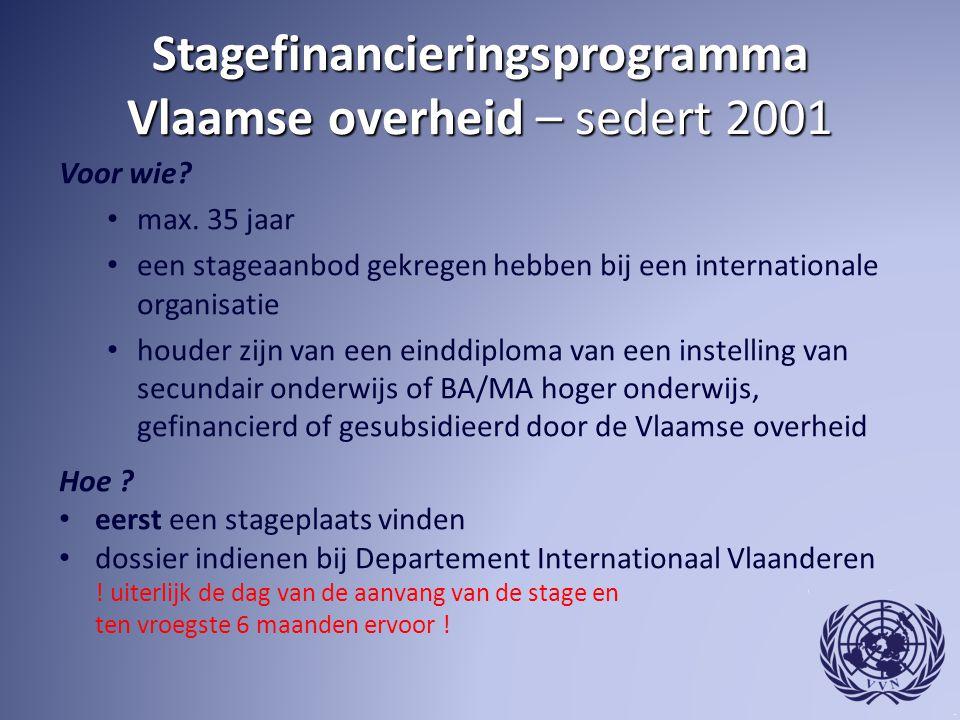 Stagefinancieringsprogramma Vlaamse overheid – sedert 2001