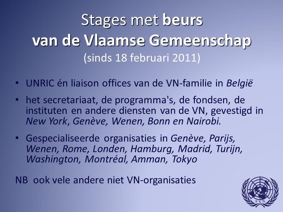 Stages met beurs van de Vlaamse Gemeenschap (sinds 18 februari 2011)