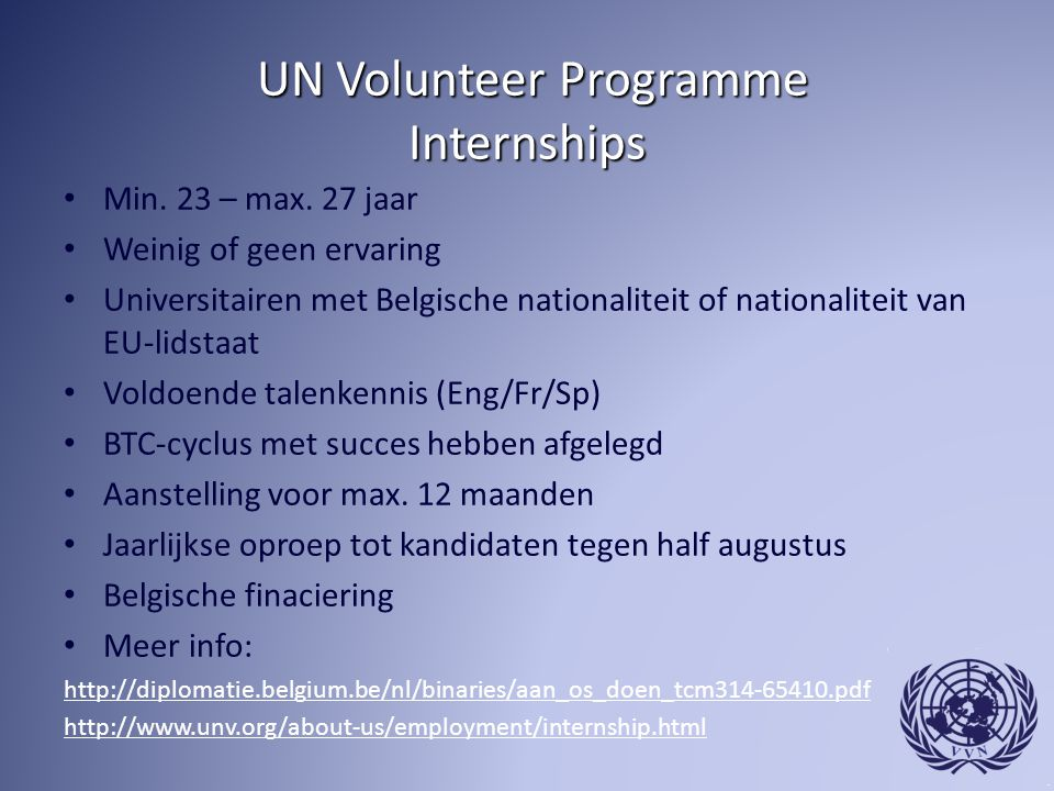UN Volunteer Programme Internships
