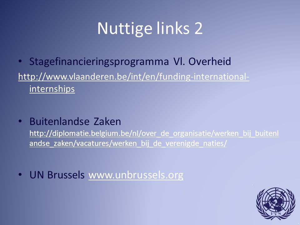 Nuttige links 2 Stagefinancieringsprogramma Vl. Overheid