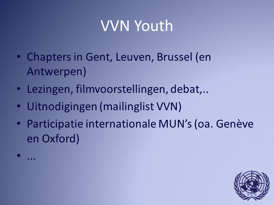 VVN Youth Chapters in Gent, Leuven, Brussel (en Antwerpen)