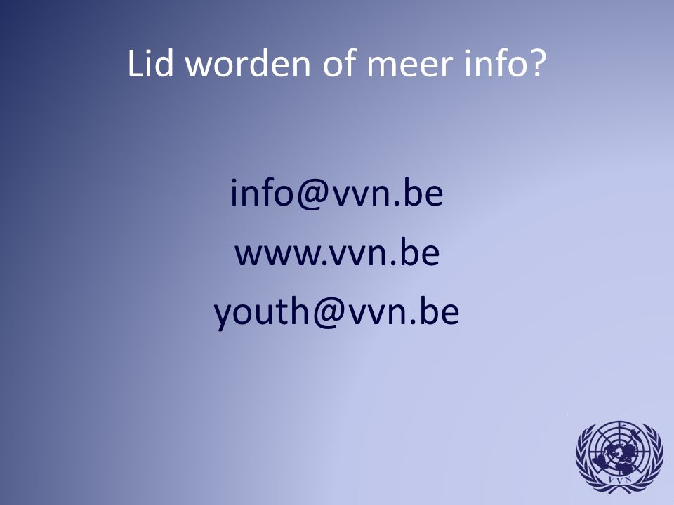 info@vvn.be www.vvn.be youth@vvn.be