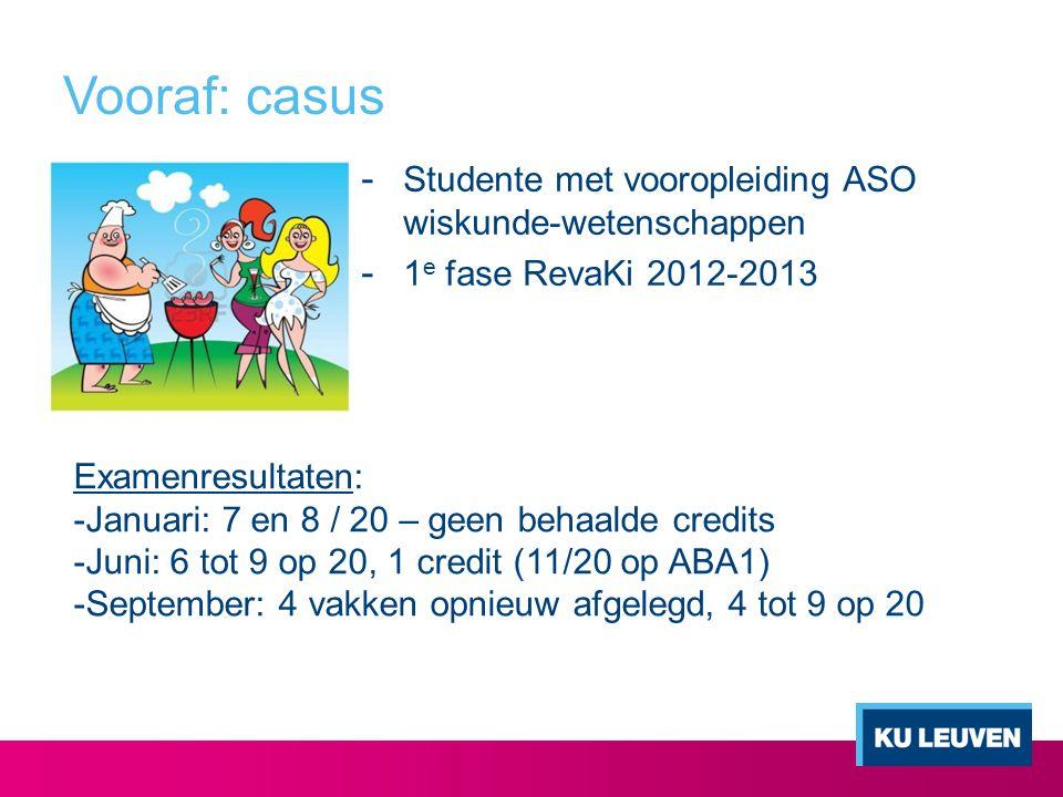 Vooraf: casus Studente met vooropleiding ASO wiskunde-wetenschappen