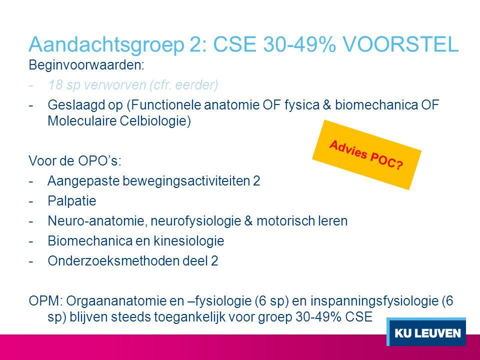Aandachtsgroep 2: CSE 30-49% VOORSTEL