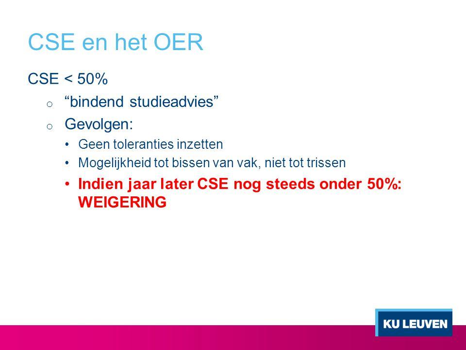 CSE en het OER CSE < 50% bindend studieadvies Gevolgen: