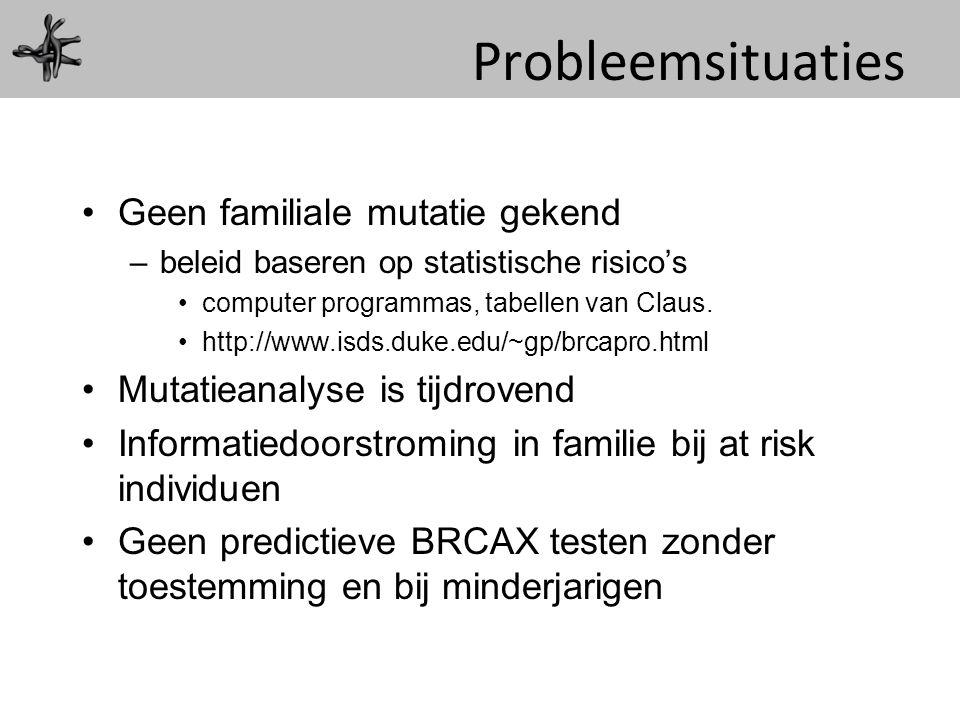 Probleemsituaties Geen familiale mutatie gekend