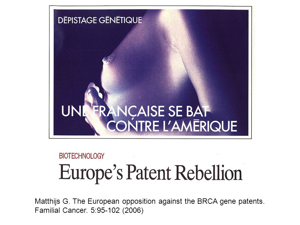 Matthijs G. The European opposition against the BRCA gene patents.