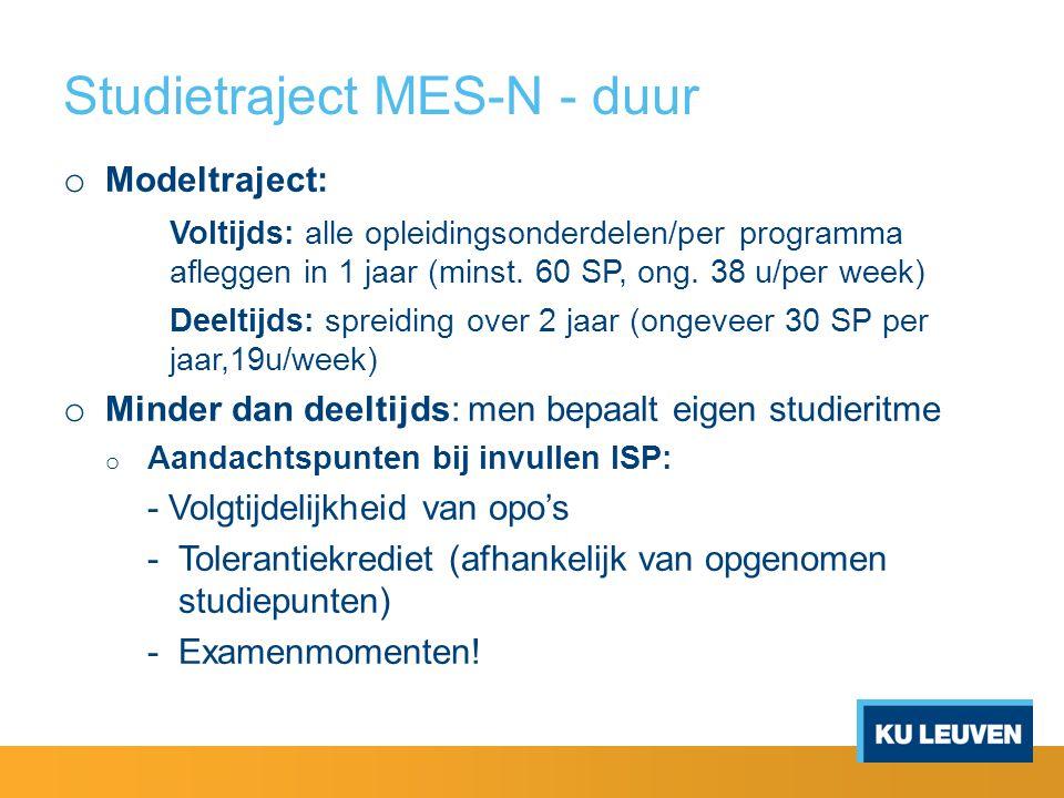Studietraject MES-N - duur