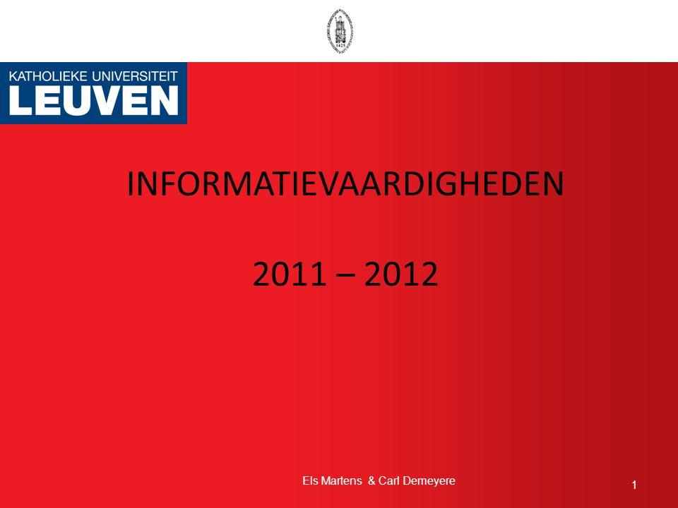 INFORMATIEVAARDIGHEDEN 2011 – 2012