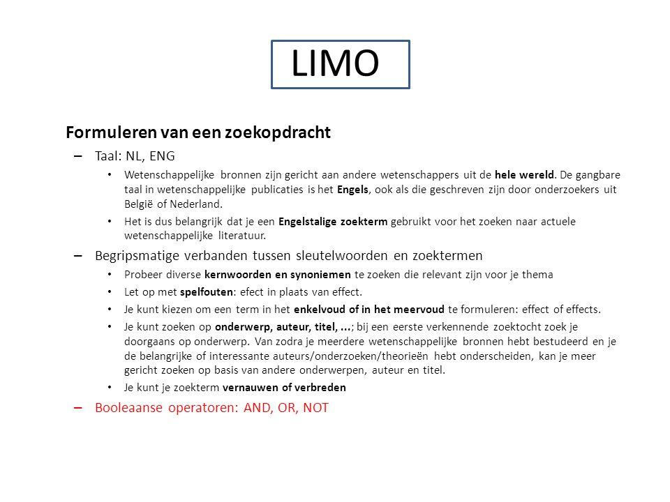 LIMO Formuleren van een zoekopdracht Taal: NL, ENG