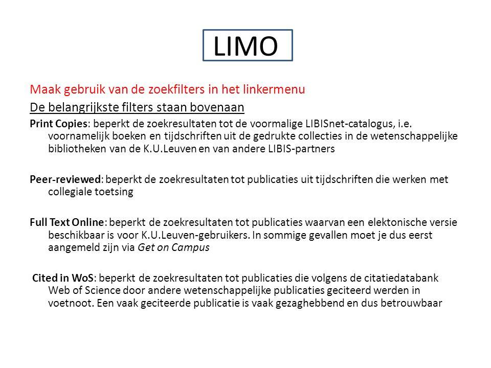 LIMO Maak gebruik van de zoekfilters in het linkermenu