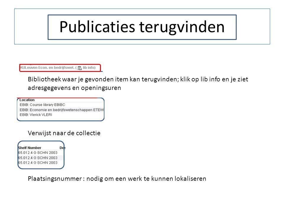 Publicaties terugvinden