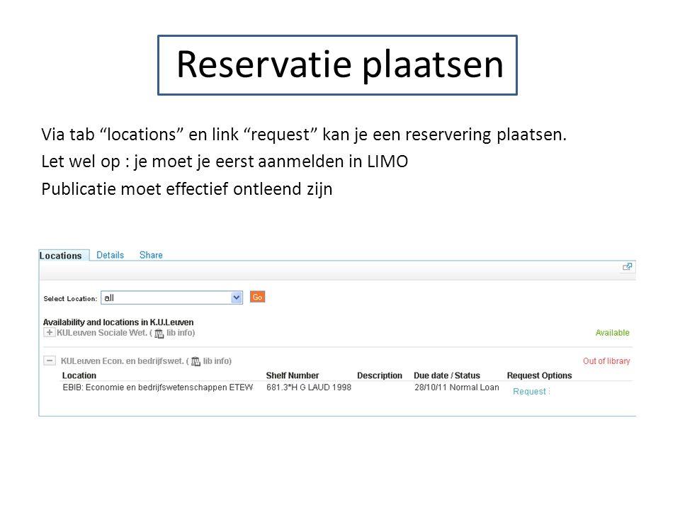 Reservatie plaatsen