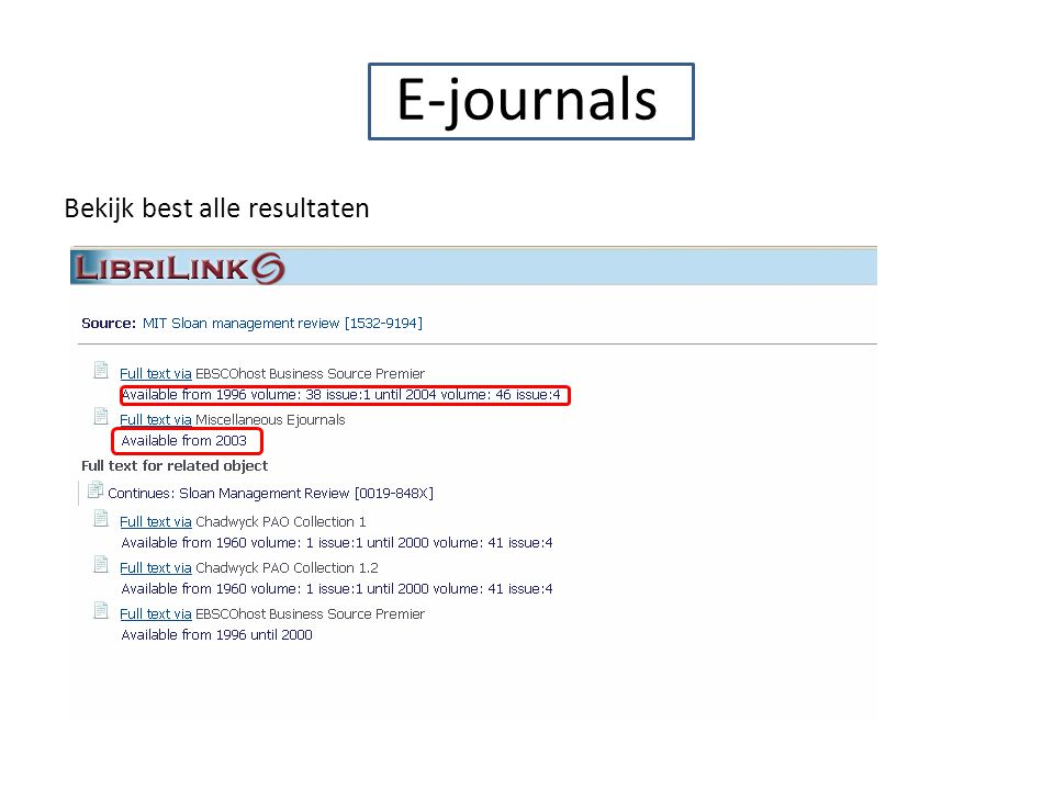 E-journals Bekijk best alle resultaten