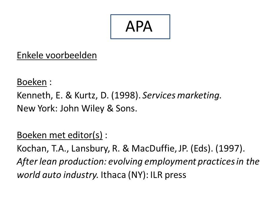 APA Enkele voorbeelden Boeken :