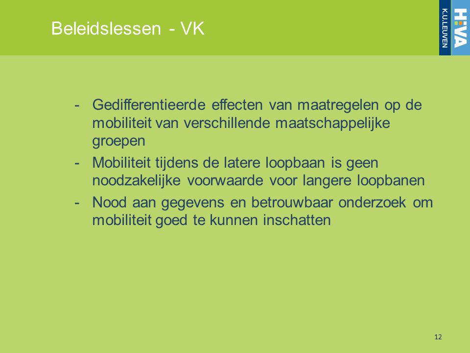 Beleidslessen - VK Gedifferentieerde effecten van maatregelen op de mobiliteit van verschillende maatschappelijke groepen.