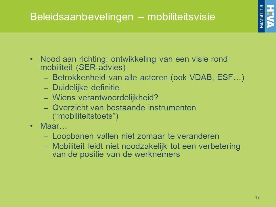 Beleidsaanbevelingen – mobiliteitsvisie