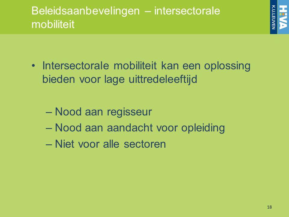 Beleidsaanbevelingen – intersectorale mobiliteit