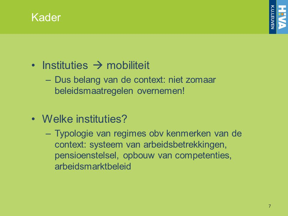 Instituties  mobiliteit