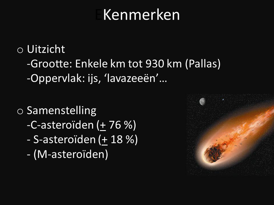 EKenmerken Uitzicht -Grootte: Enkele km tot 930 km (Pallas) -Oppervlak: ijs, 'lavazeeën'…