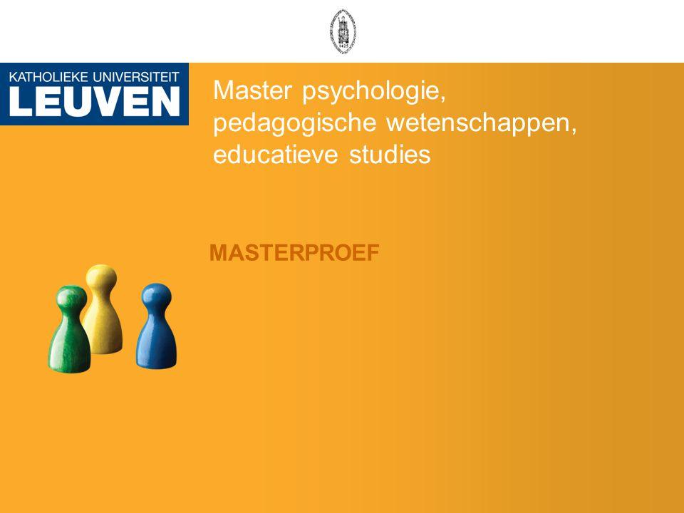 Master psychologie, pedagogische wetenschappen, educatieve studies