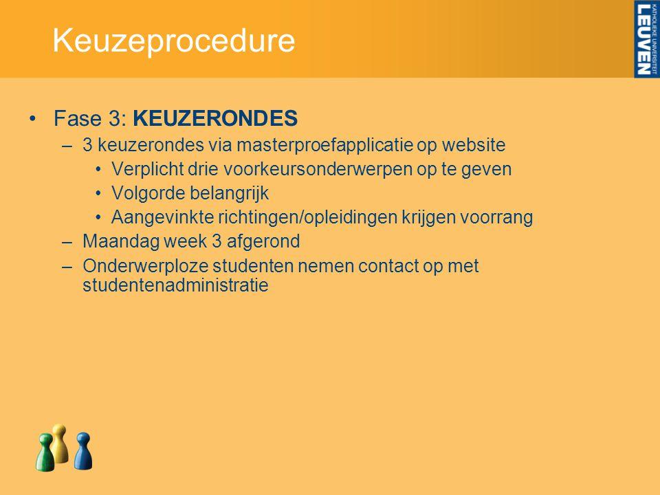 Keuzeprocedure Fase 3: KEUZERONDES