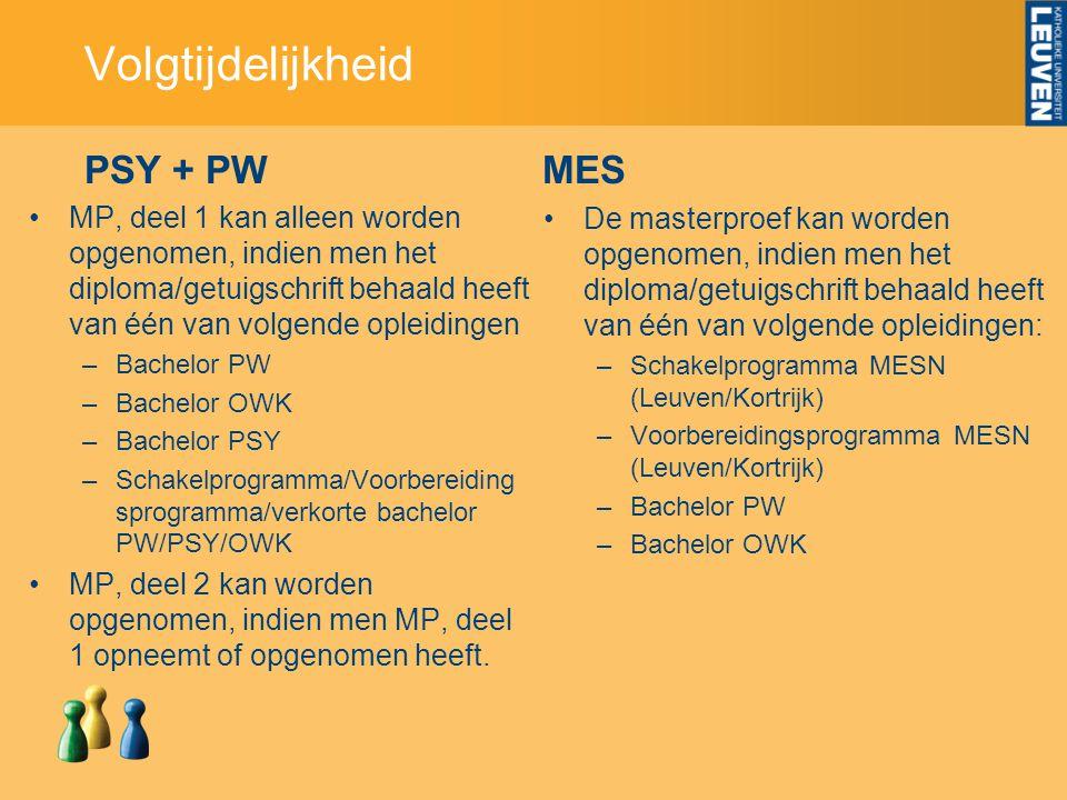 Volgtijdelijkheid PSY + PW MES