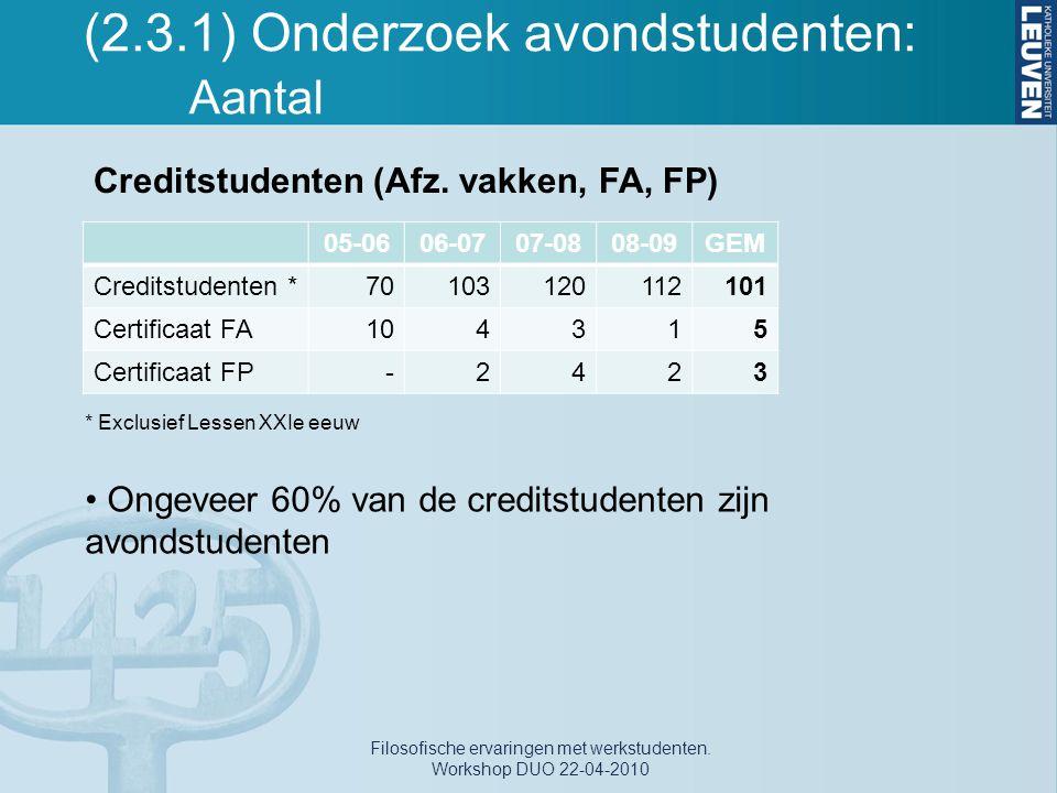 (2.3.1) Onderzoek avondstudenten: Aantal