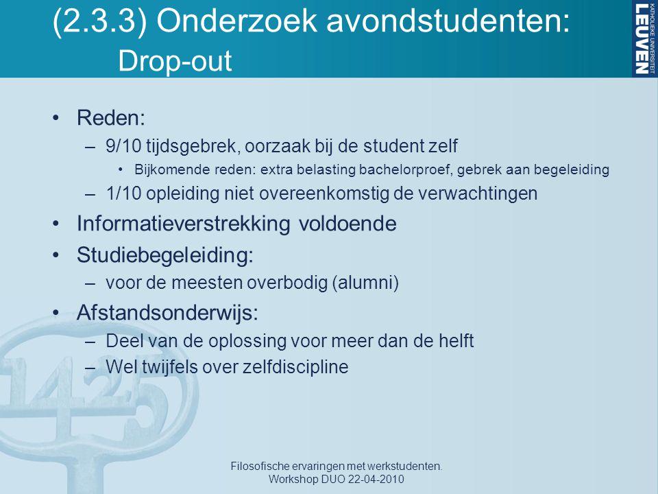 (2.3.3) Onderzoek avondstudenten: Drop-out