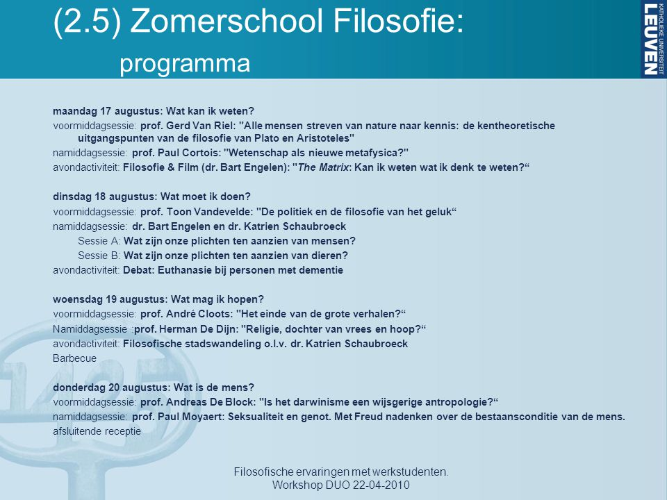 (2.5) Zomerschool Filosofie: programma