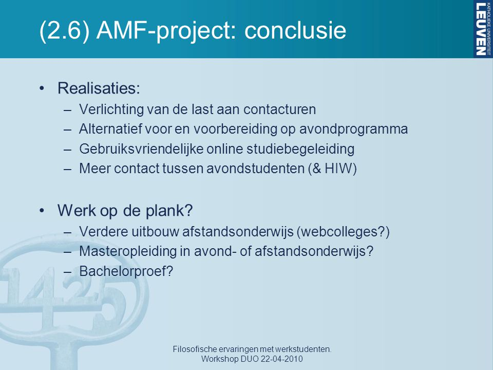 (2.6) AMF-project: conclusie