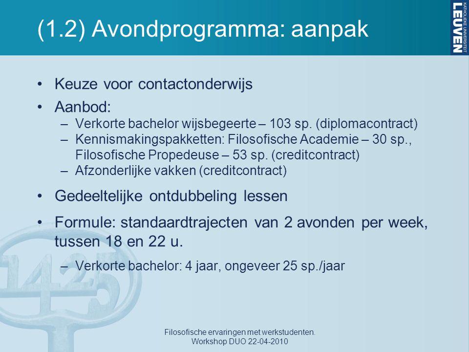 (1.2) Avondprogramma: aanpak