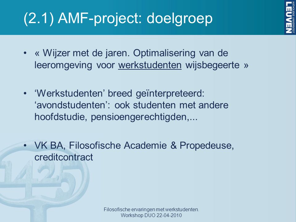 (2.1) AMF-project: doelgroep