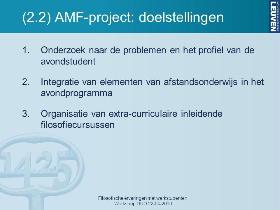 (2.2) AMF-project: doelstellingen