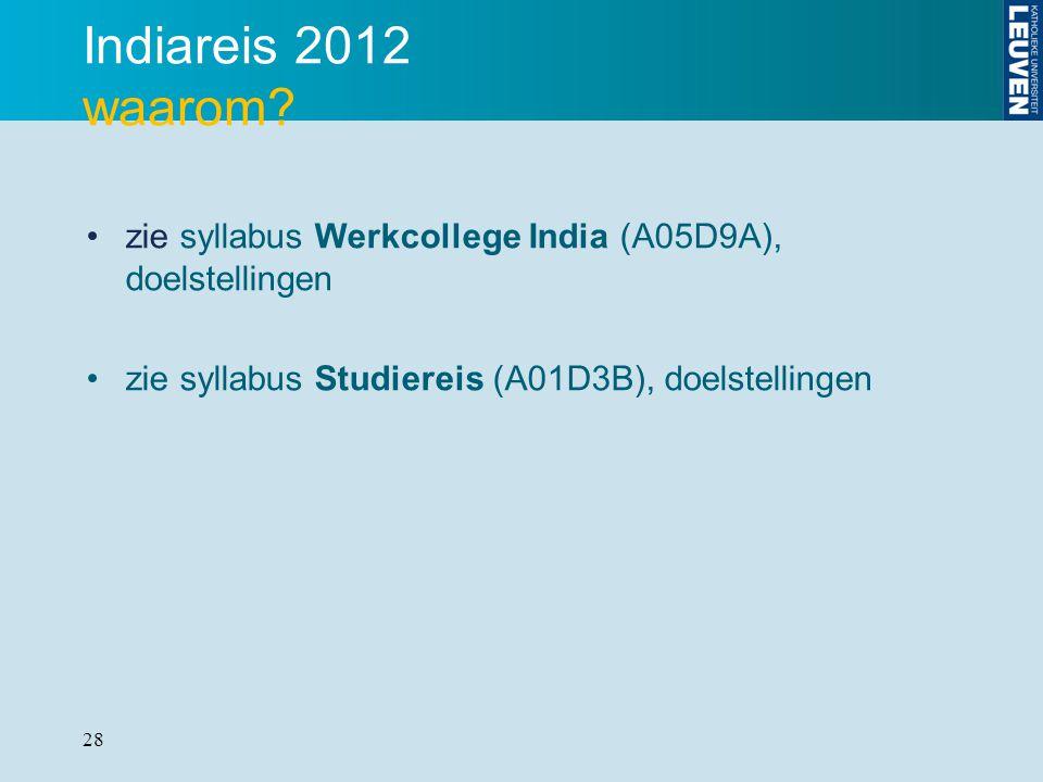 Indiareis 2012 waarom. zie syllabus Werkcollege India (A05D9A), doelstellingen.