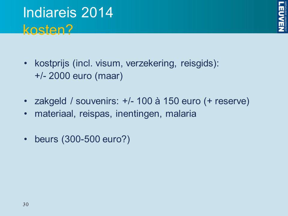 Indiareis 2014 kosten kostprijs (incl. visum, verzekering, reisgids):
