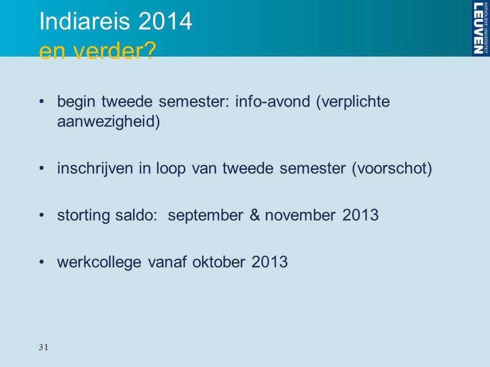 Indiareis 2014 en verder begin tweede semester: info-avond (verplichte aanwezigheid) inschrijven in loop van tweede semester (voorschot)