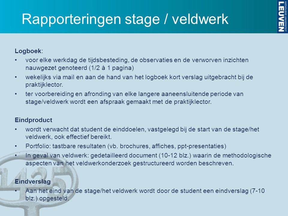 Rapporteringen stage / veldwerk