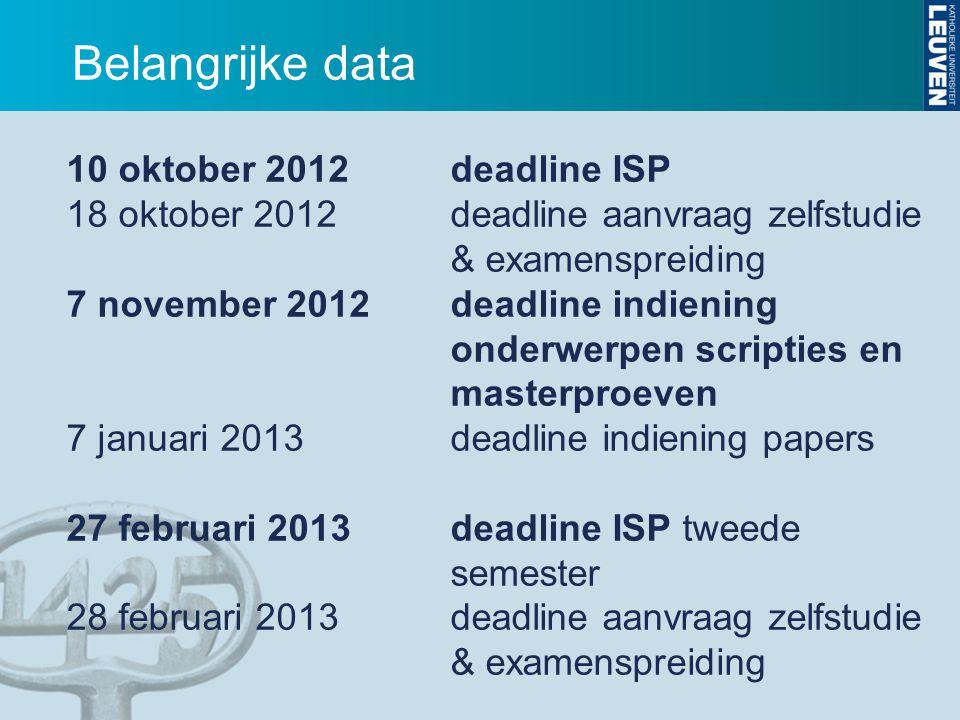 Belangrijke data 10 oktober 2012 deadline ISP