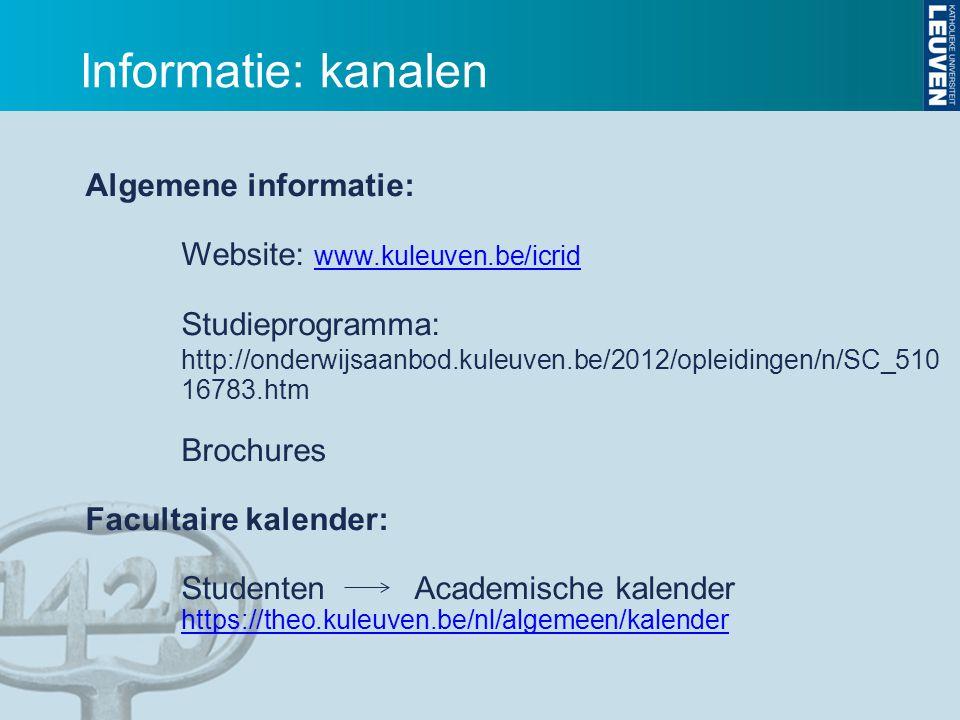 Informatie: kanalen Algemene informatie: