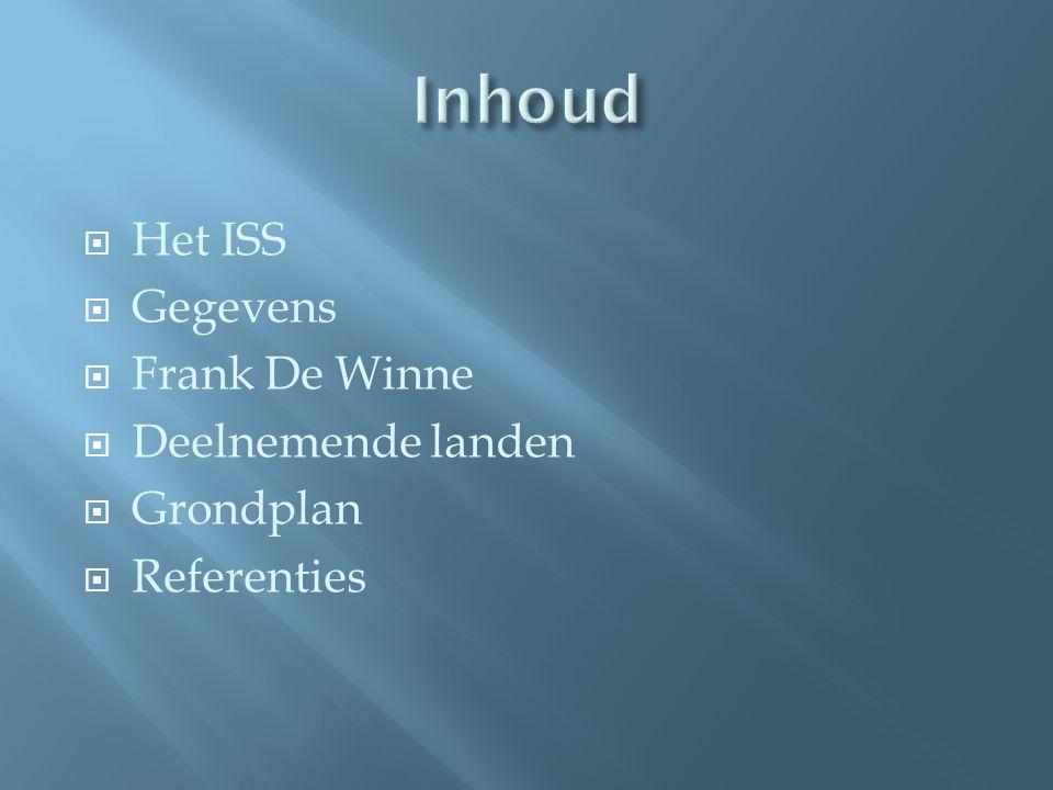 Inhoud Het ISS Gegevens Frank De Winne Deelnemende landen Grondplan