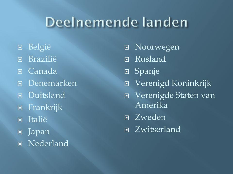 Deelnemende landen België Brazilië Canada Denemarken Duitsland