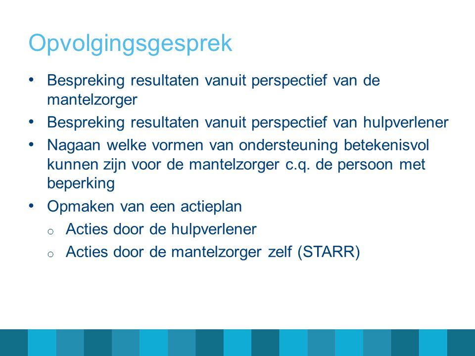 Opvolgingsgesprek Bespreking resultaten vanuit perspectief van de mantelzorger. Bespreking resultaten vanuit perspectief van hulpverlener.